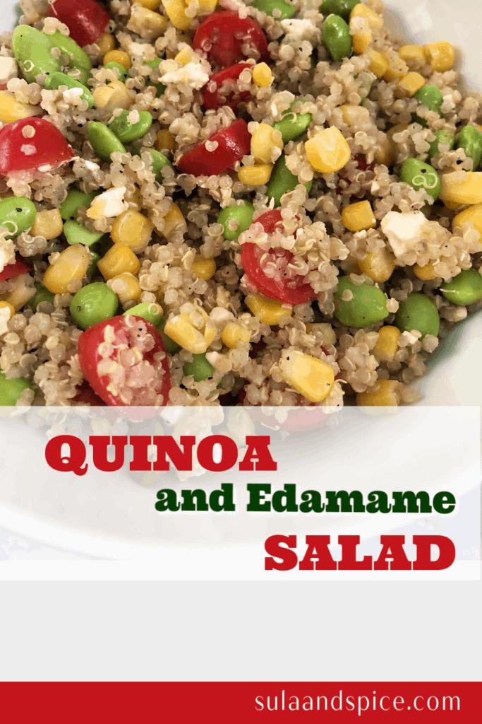 pin for quinoa edamame salad