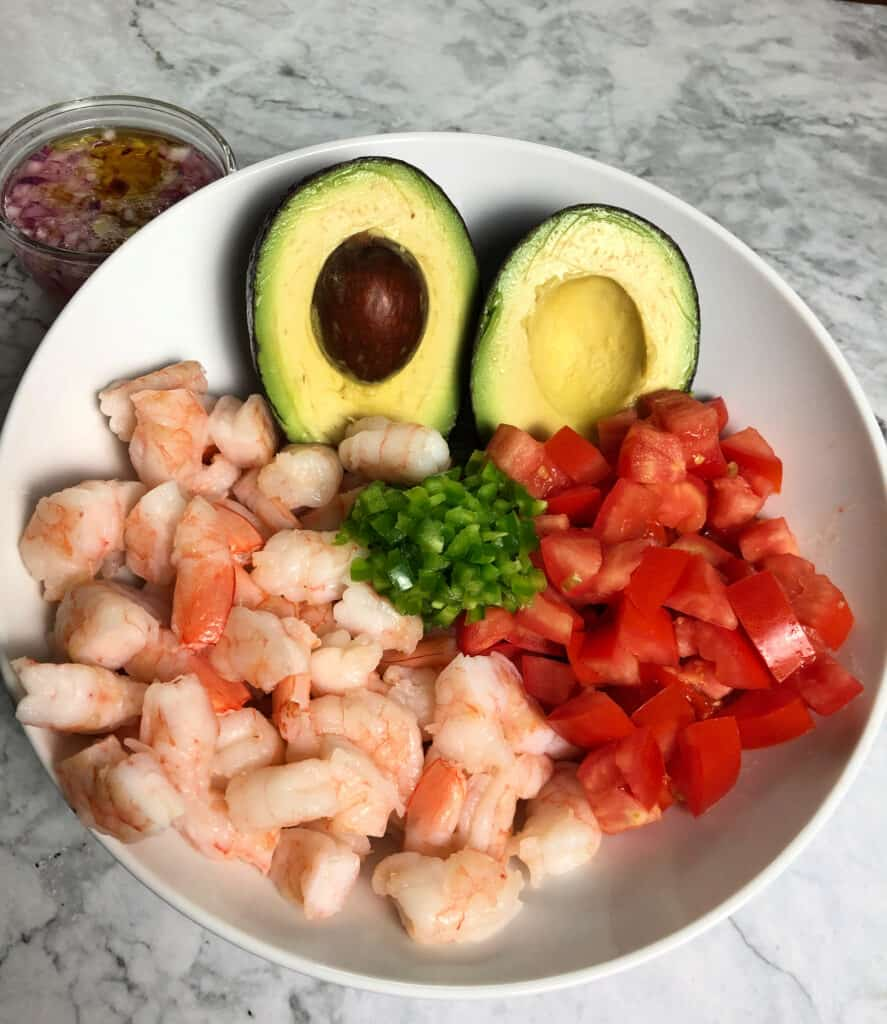 Ingredients for lime shrimp and avocado salad