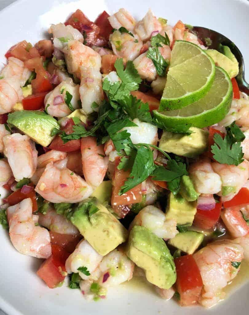Lime shrimp and avocado salad