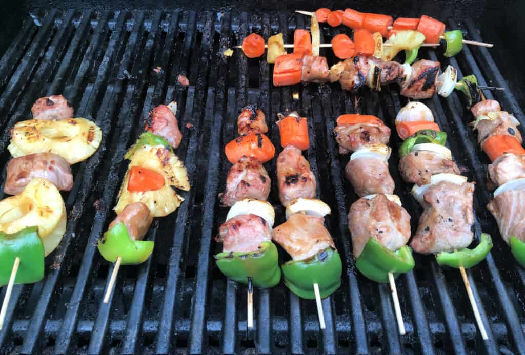sweet and sour pork kabobs on the grill