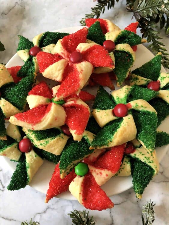 plate of green and red poinsettia cookies