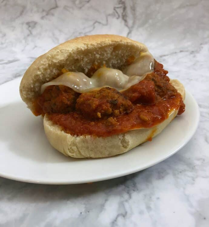 meatball sandwich on hoagie roll