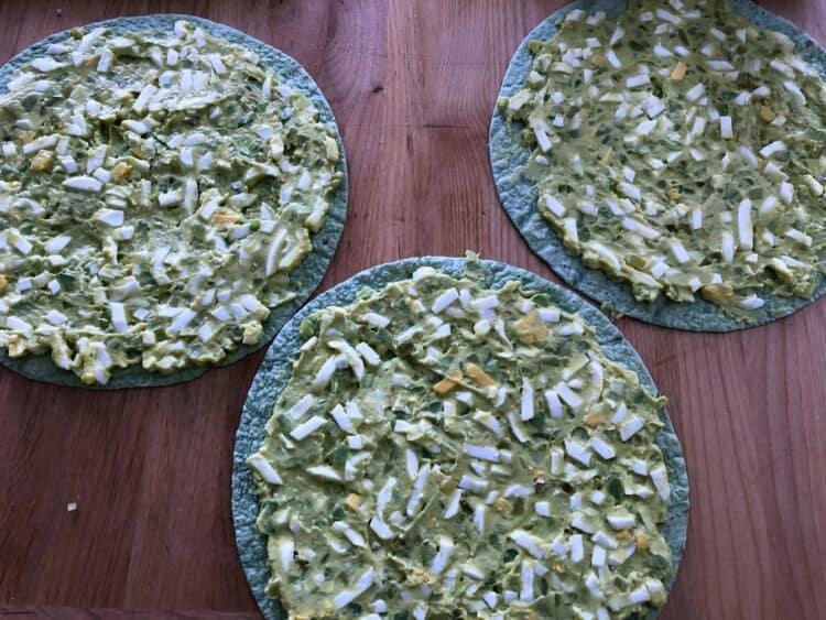 avocado egg salad on spinach tortillas