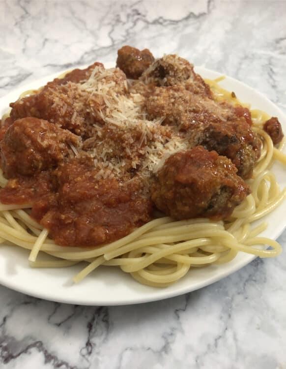 ricotta meatballs on spghetti