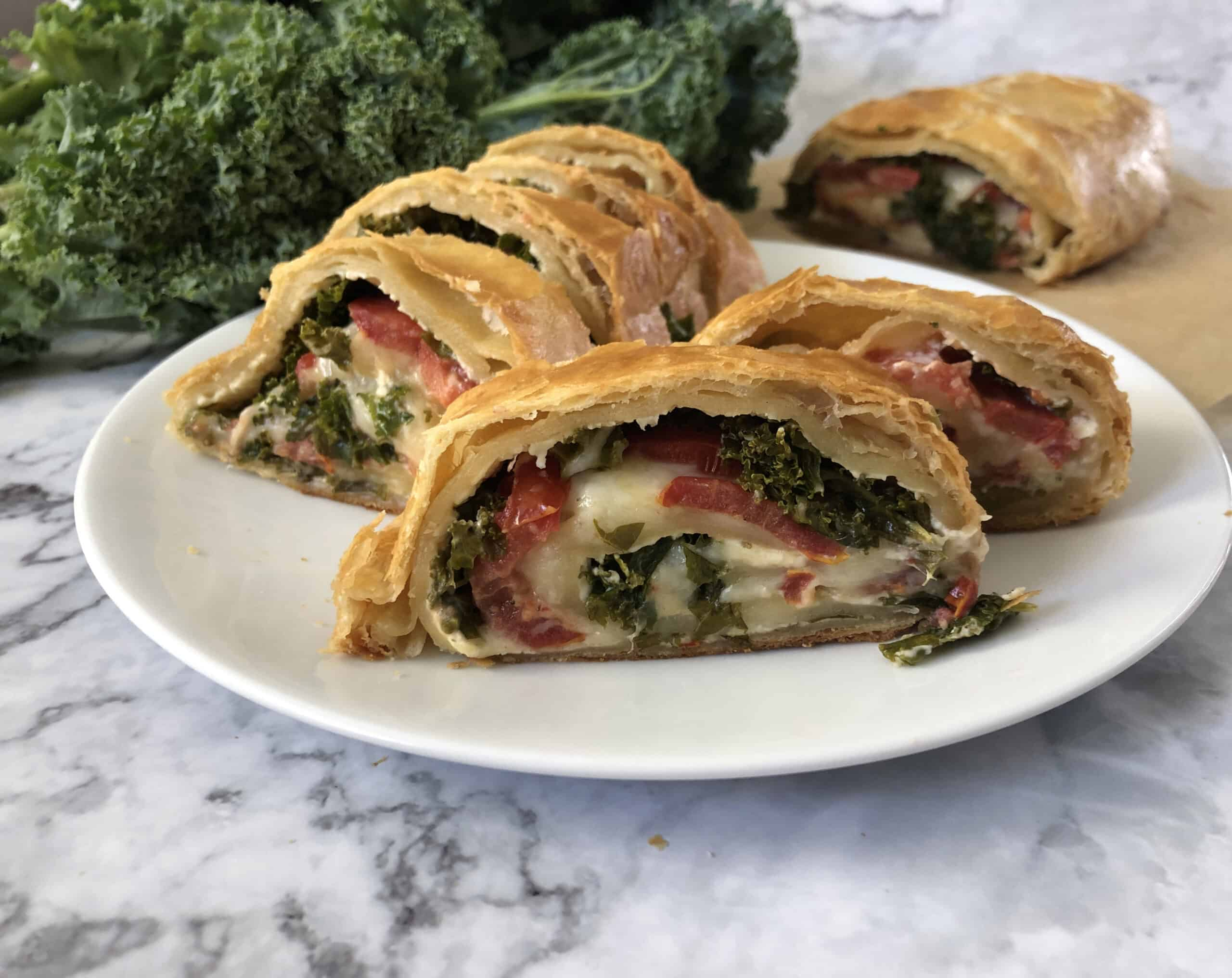 Vegetarian stromboli in puff pastry