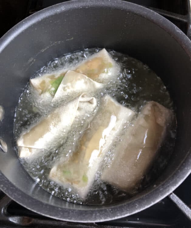 Homemade egg rolls in oil
