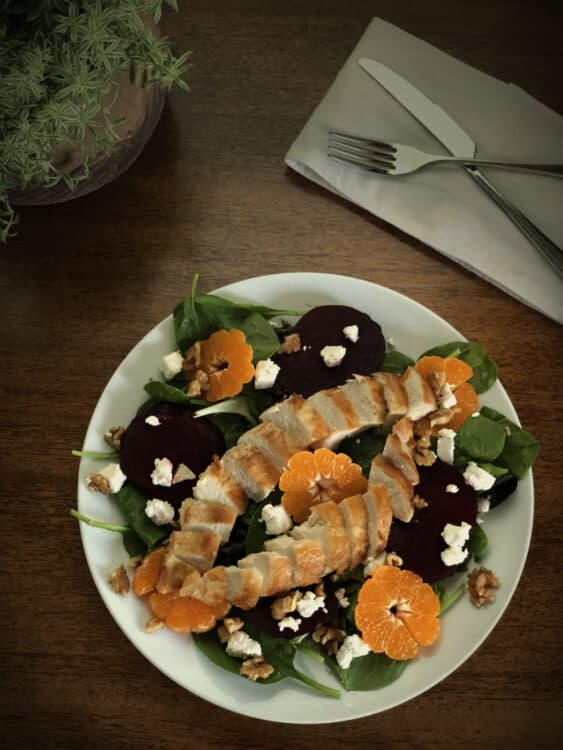 Beet Salad with Goat Cheese and Chicken Breast