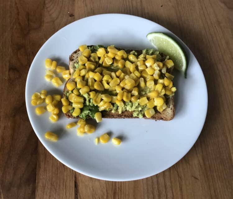 Avocado toast with corn