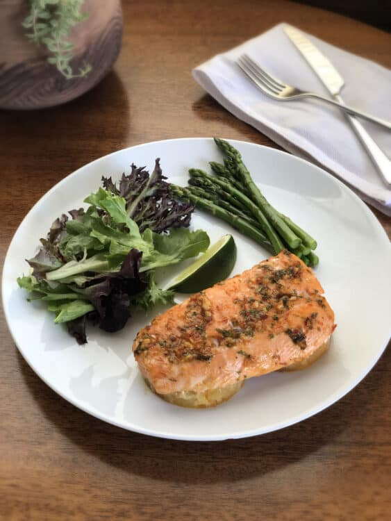 Baked Pineapple Salmon on a plate