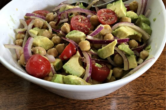 Chickpea avocado salad side view