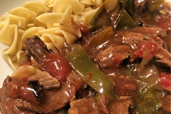 pepper steak with noodles
