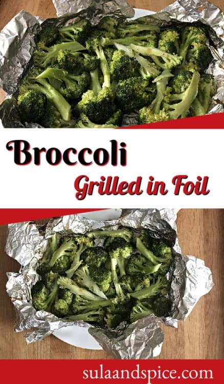 Pin for grilled broccoli in foil