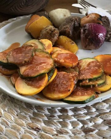 Zucchini and yellow squash on a plate