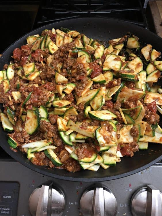 all ingredients mixed up in skillet