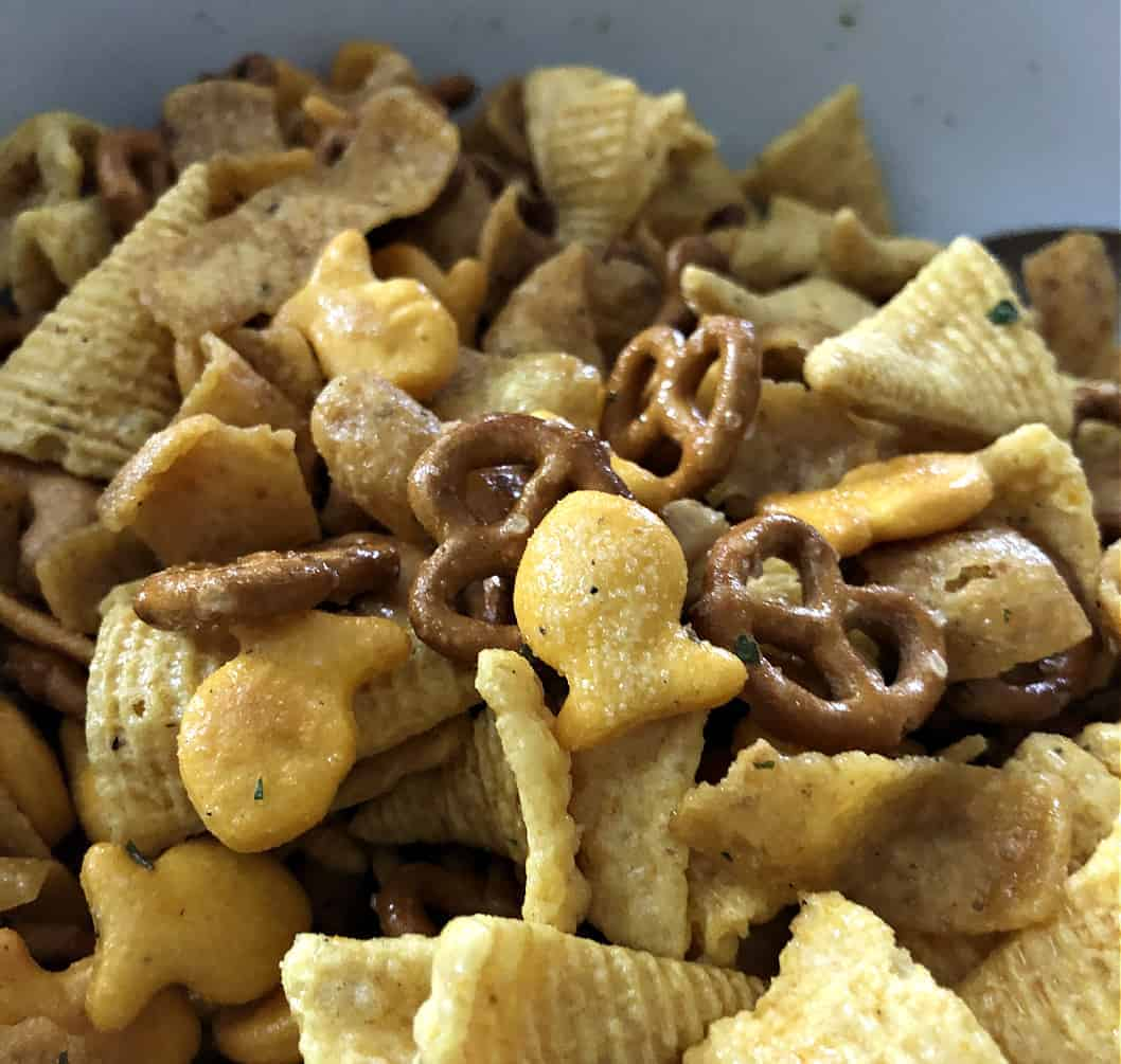 party mix with bugles close up