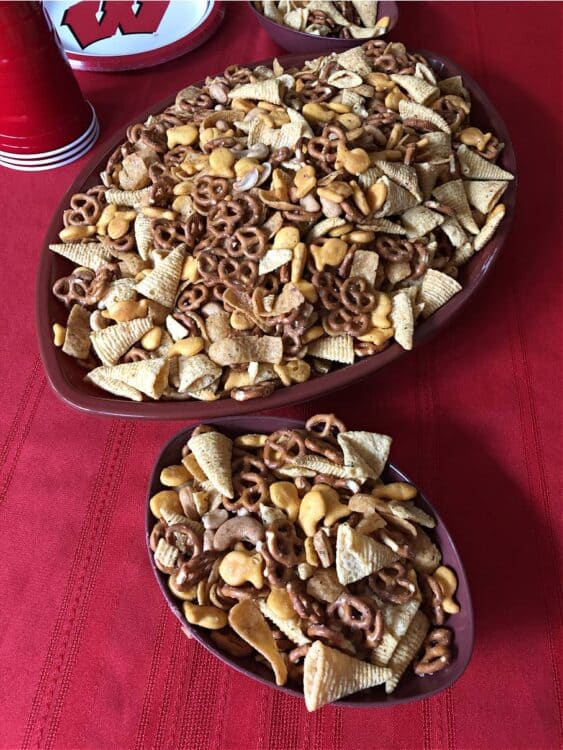 ranch party mix in football shaped bowls