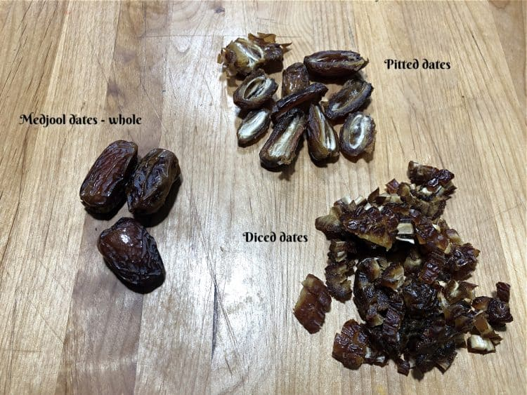 Medjool dates whole, pitted, and diced