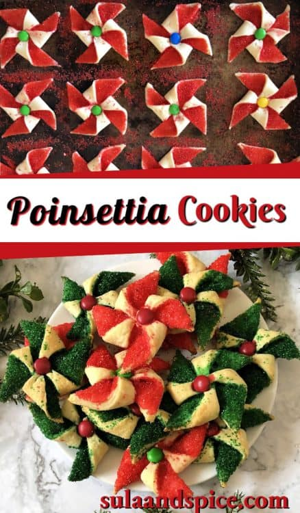 Poinsettia cookies pin