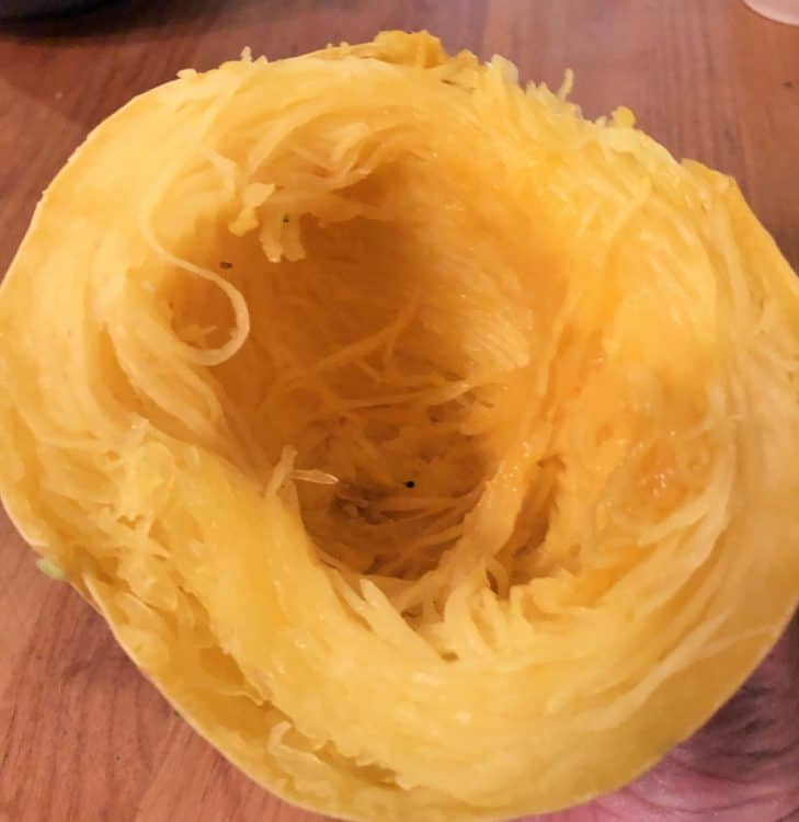 Cooked spaghetti squash noodles