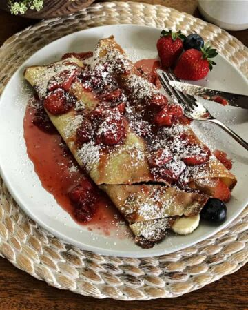 Fruit Crepes on a white plate