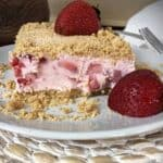 frozen strawberry dessert on a white plate