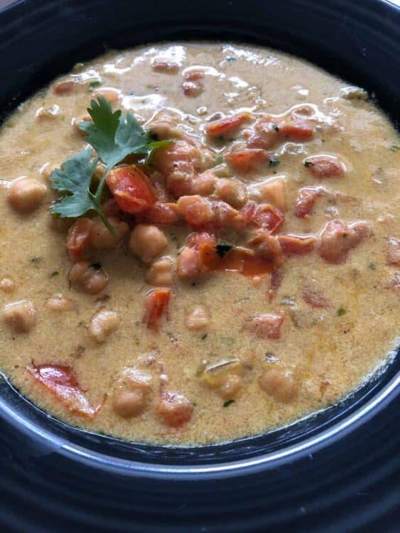 closeup of soup on a bowl