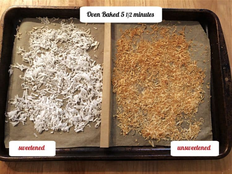split baking sheet of flakesafter toasting 5.5 minutes