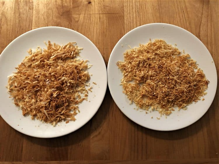 2 plates of oven toasted coconut flakes
