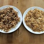 Toasted coconut on 2 small plates