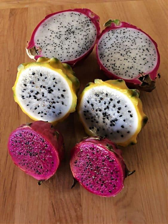 3 varieties of dragon fruit cut open