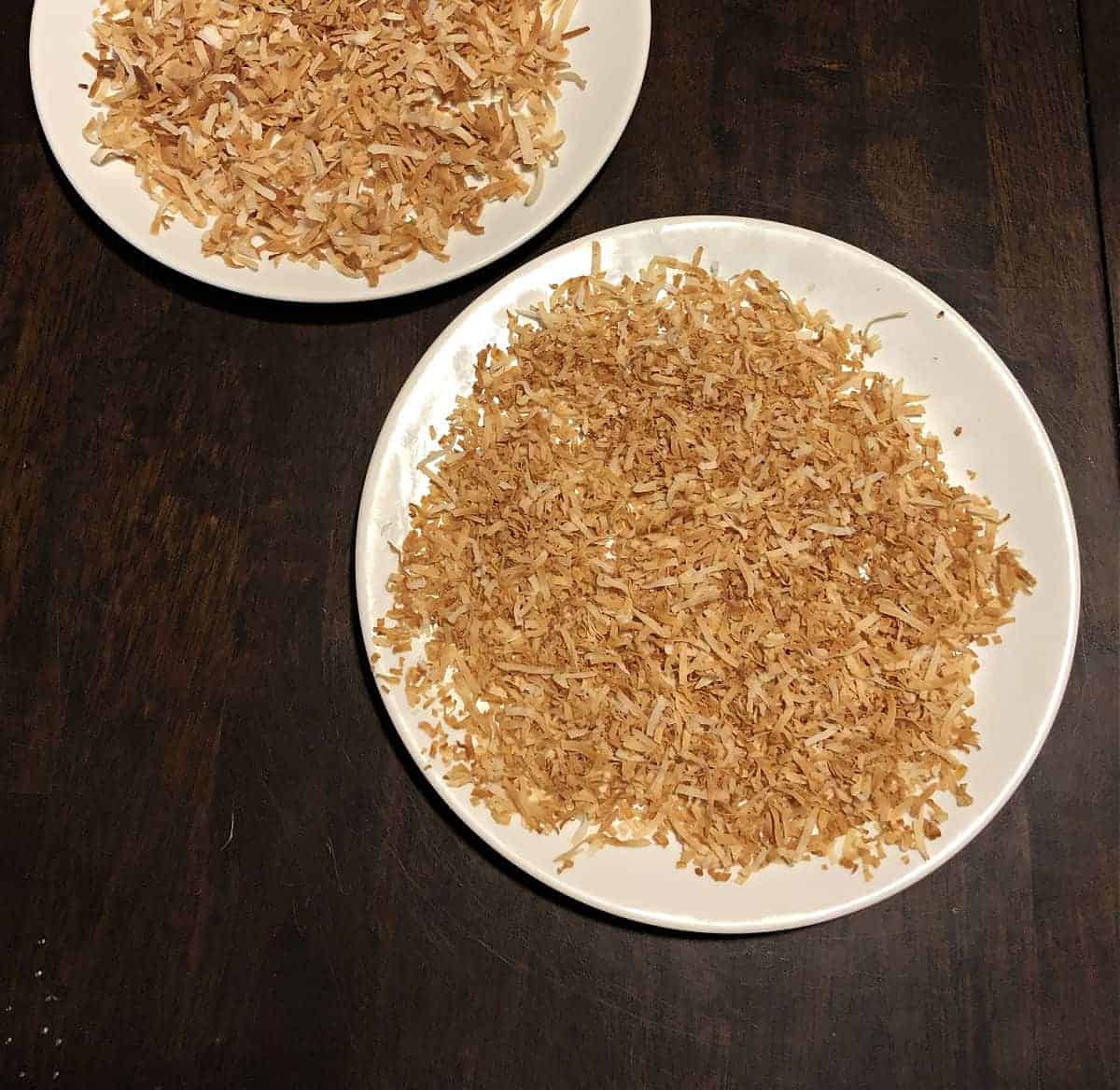 Toasted Coconut on a small white plate