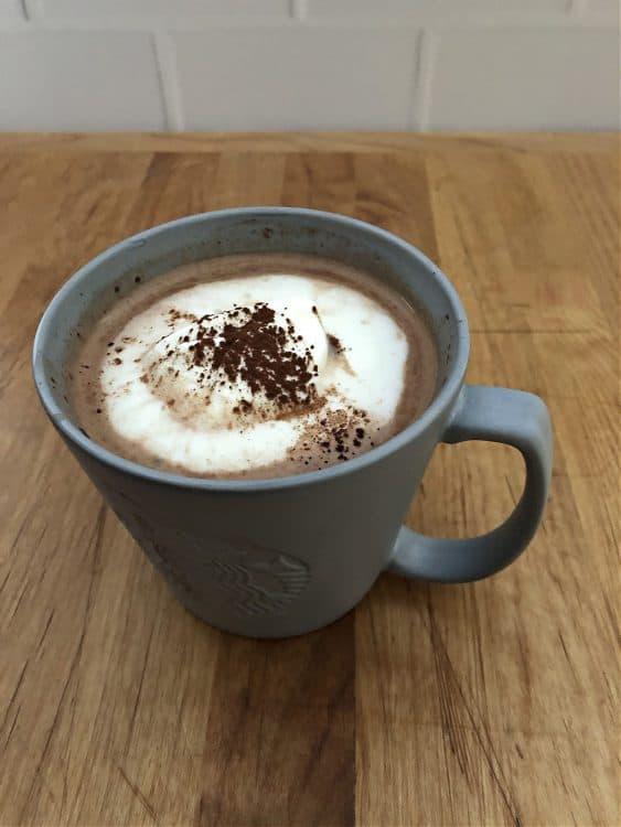 keto hot cocoa in a gray mug
