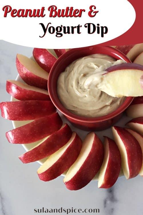 Greek yogurt with peanut butter dip Pin