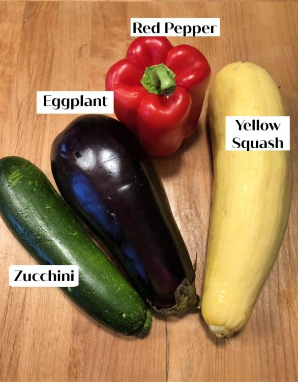 yellow squash, eggplant, red pepper and zucchini