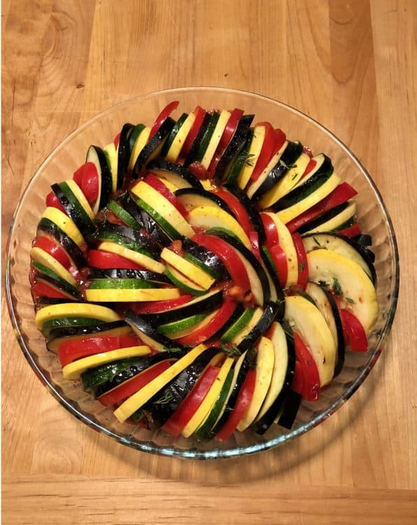 vegetables arranged in a circular pan