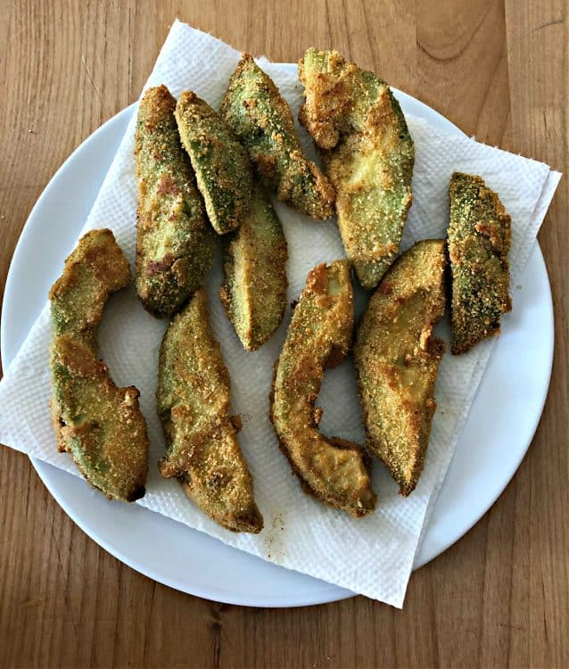 avocado fries on a paper towel lined plate