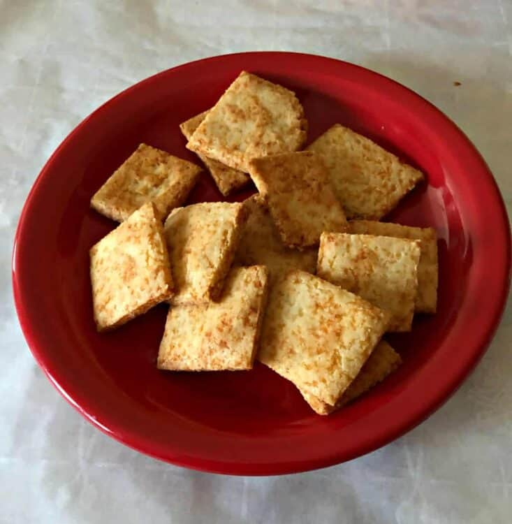 keto snack crackers in a small red bowl