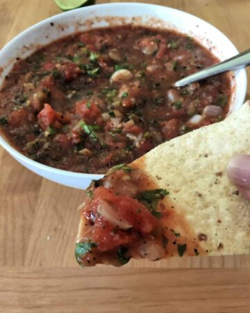 roasted salsa on a chip, bowl in background