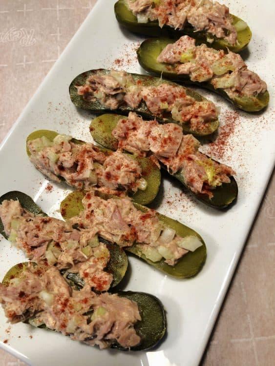 tuna salad boats on a white platter