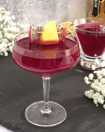 Dragon Fruit cocktail in a coupe glass