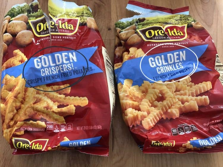 2 bags of frozen french fries