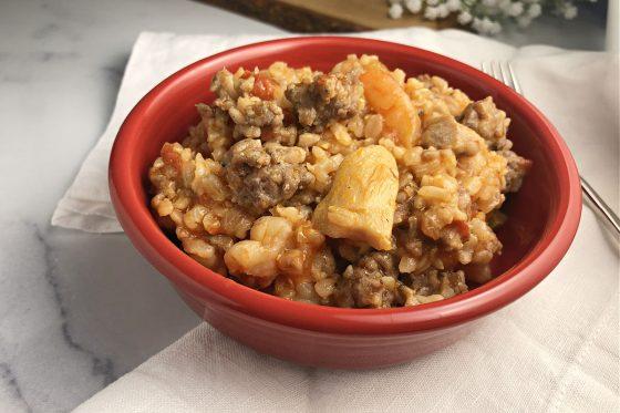 Jambalaya in a red bowl