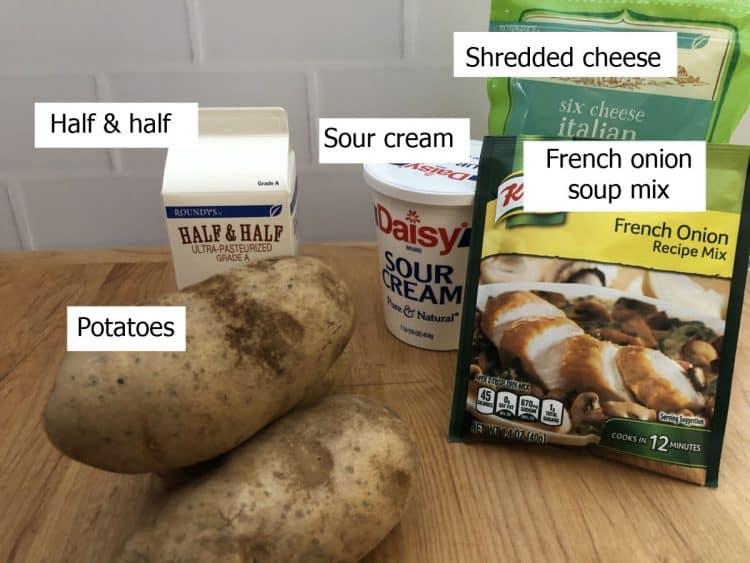 Ingredients for French Onion Potato Bake