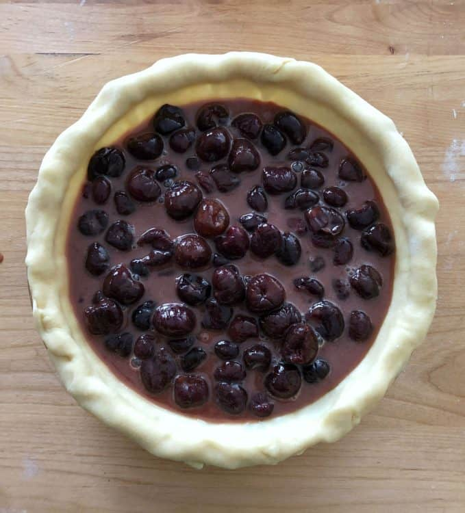 bottom crust filled with cherry mixture