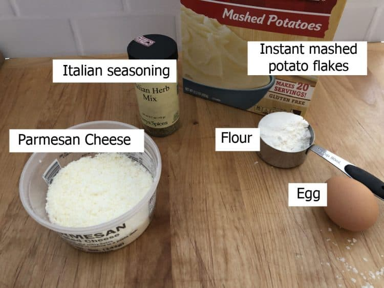ingredients: fish, potato flakes, parmesan cheese, flour, egg and seasoning