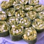 close up of egg salad pinwheels