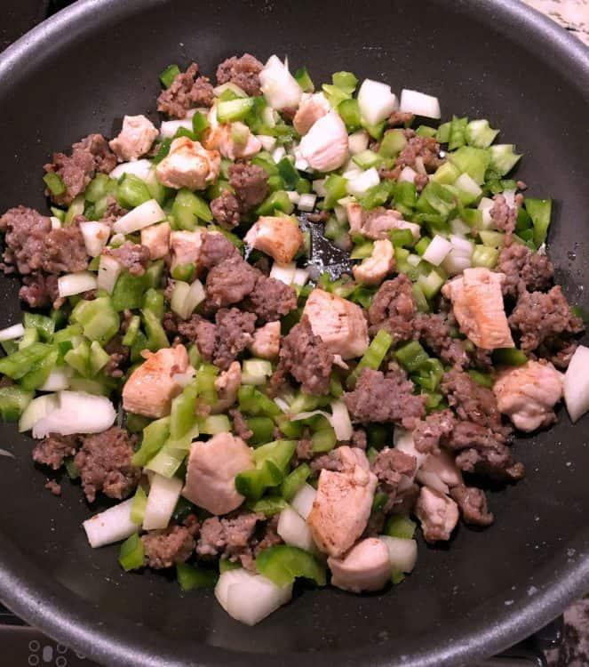 ingredients browning in a skillet