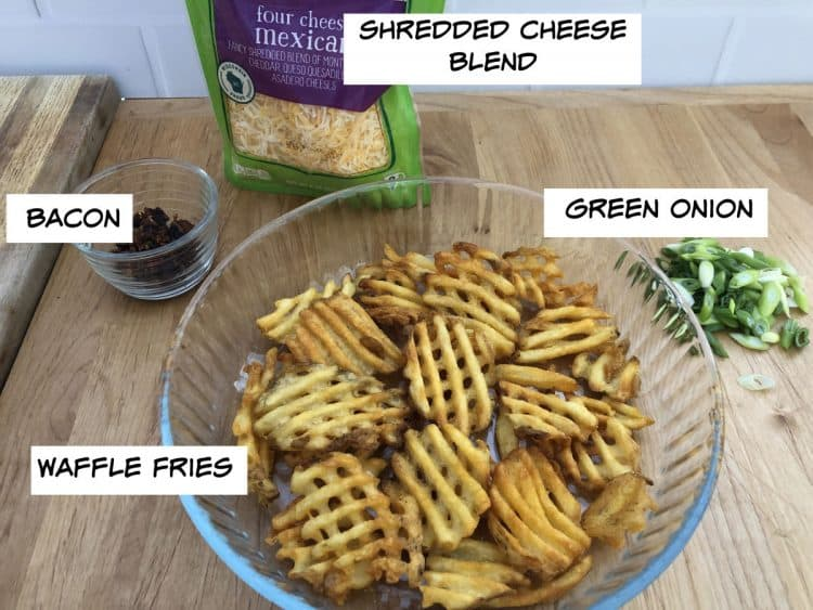 waffle fries, bacon, cheese, green onion
