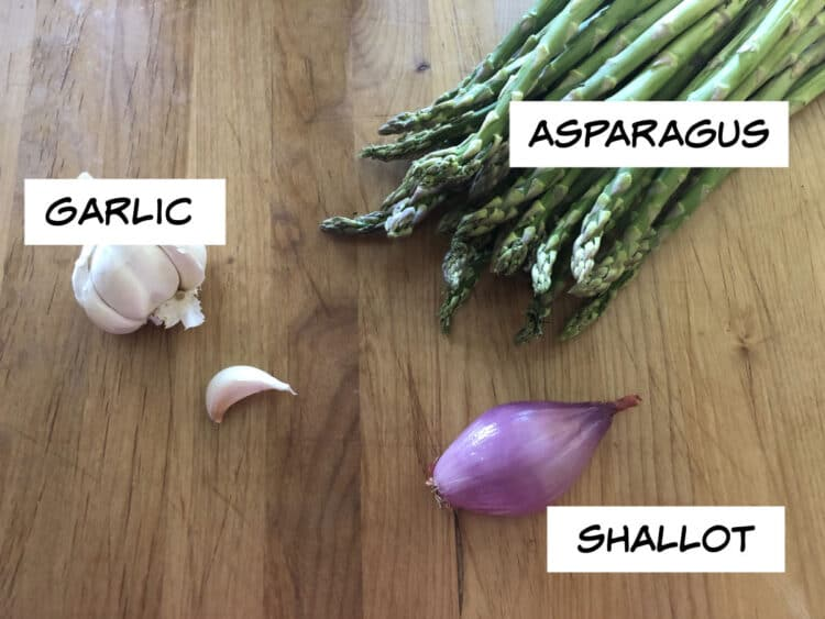 asparagus, garlic and a shallot