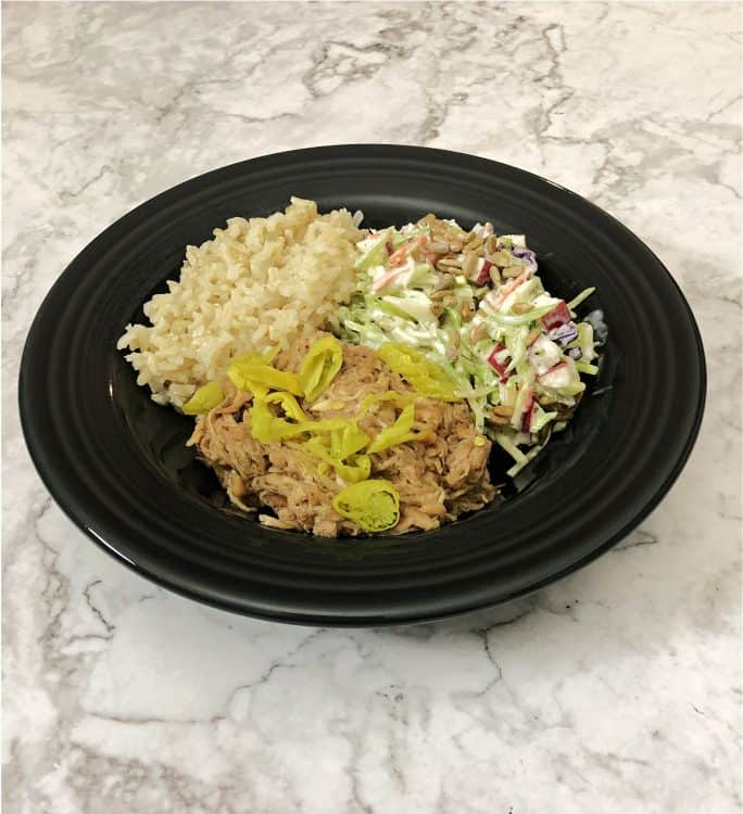 mississippi chicken in a bowl with rice